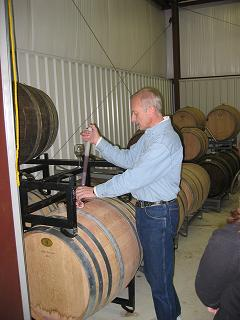 Bob Moncsko in Grove Winery barrel room - 2/11/2006